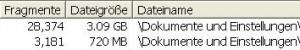Beispiel: vor der Komprimierung hat der Posteingang 3,09GB und 28.374 Fragmenten