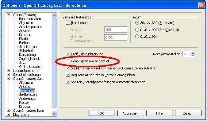 Genauigkeit wie Angezeigt - die Option in OpenOffice.org Calc