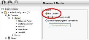 Avira Antivir Scanner Einstellungen - Alle Dateien