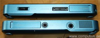 Anschlüsse Links und Rechts - Mini HDMI und Micro-SD sind mit Klappen versehen, VGA wird an den System-IO Anschluss angeschlossen