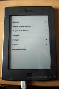 Sprachauswahl auf dem Kindle Touch