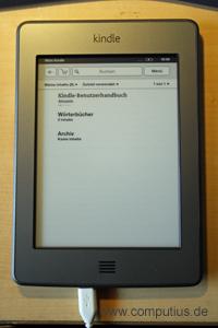 Startseite auf dem Kindle Touch