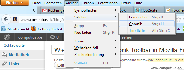 Chronik Toolbar ein- und ausschalten in Mozilla Firefox
