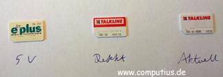 Die SIM-Karten vor dem Versand zurück an Talkline