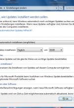 Windows 7 Update Einstellungen