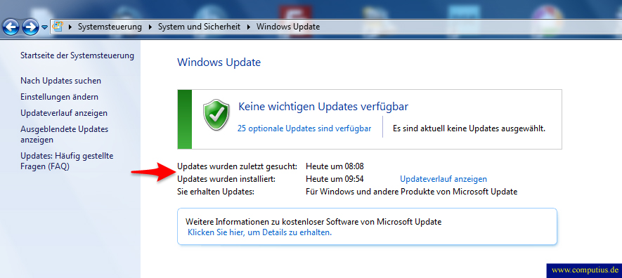 Windows 7 Update Status