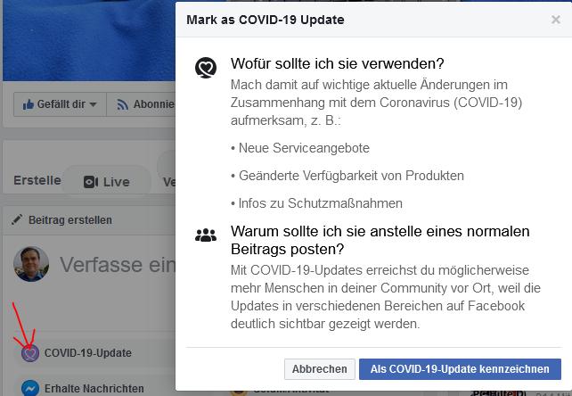 Facebook Seite COVID-19-Update